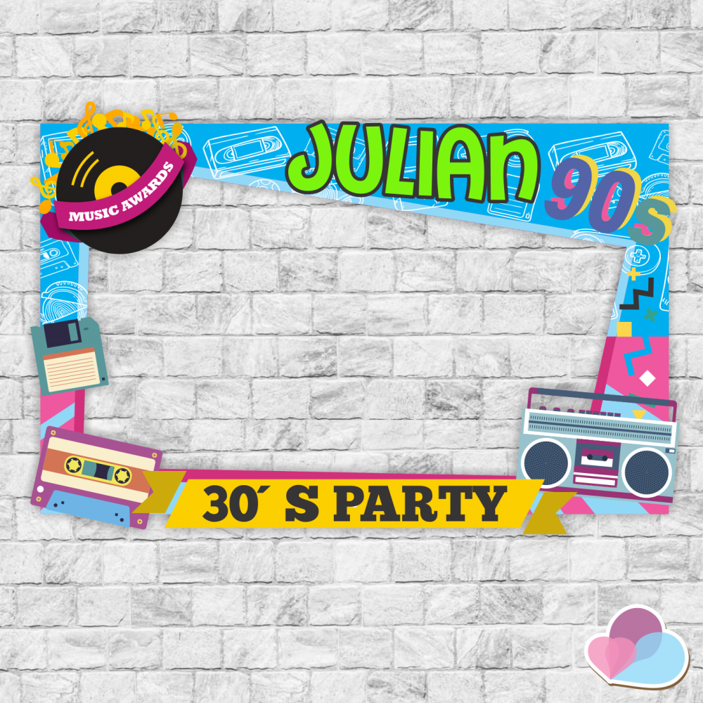90's birthday party, 90's photo booth frame, 90's party decoration, 80s  party