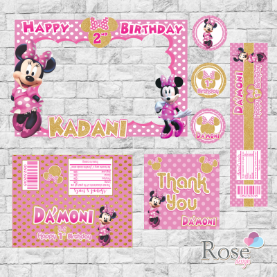 Pink and gold minnie mouse,...